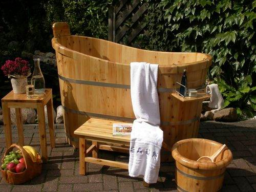 tuamc sauna tauchbecken holz badebottich zuber badezuber bottich holzbadewanne ebay. Black Bedroom Furniture Sets. Home Design Ideas